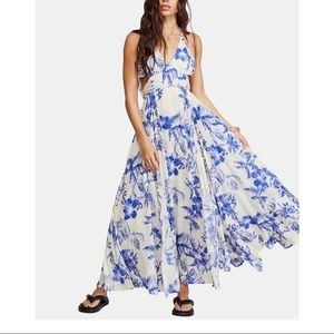 Free People Lille Printed Tie-Back Maxi Dress XS